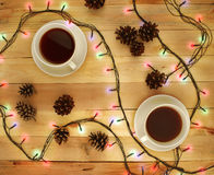 Two cups of hot beverage. Tea. Coffee. Time to rest. Stock Images