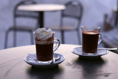 Two cups of hot chocolate Stock Images