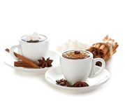 Two cups of hot chocolate with cinnamon sticks Stock Image