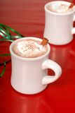 Two cups of hot chocolate with green ribbon Stock Photos
