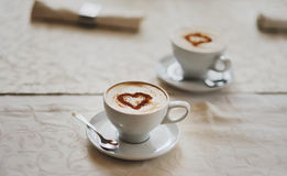 Two cups of Hot Chocolate Stock Photos