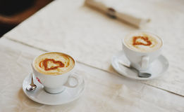 Two cups of Hot Chocolate Stock Photography