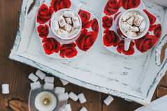 Two cups of hot cocoa with marshmallows and cinnamon on wooden background Stock Photos