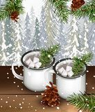 Two cups with hot cocoa and marshmallows drink with fir trees background. Winter forest and snow Vector. Illustration Stock Photos
