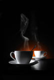 Two cups with hot coffee Royalty Free Stock Image
