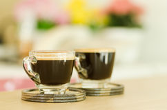 Two cups of hot coffee Stock Photo
