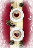 Two cups of hot drink on the winter background. Concept. Royalty Free Stock Images
