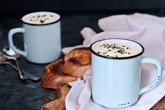 Two Cups of Hot Potato Soup Stock Photos