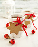 Two cups of hot tea and gingerbread Royalty Free Stock Photo
