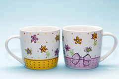 Two cups. Two large cups for hot drinks Royalty Free Stock Photography