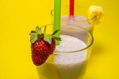 Two cups of milkshake stock photos