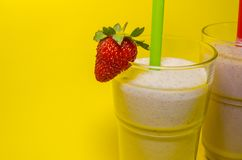 Two cups of milkshake royalty free stock photography