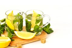 Two Cups of Mint tea on white background stock image