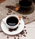Two cups of morning aromatic coffee Royalty Free Stock Image