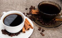 Two cups of morning aromatic coffee Royalty Free Stock Photography