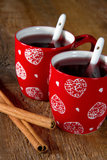 Two cups of mulled wine Stock Photos