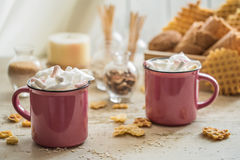 Two Cups Of Cocoa With Marshmallows Royalty Free Stock Images