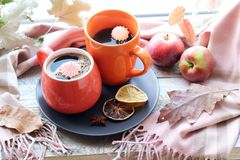 Free Two Cups Of Coffee, Meringues, Pumpkins, Apples, Leaves, Plaid On The Background Of The Window Stock Photos - 157403803