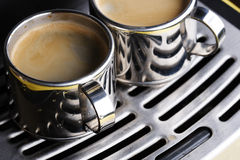 Two Cups Of Hot Espresso Royalty Free Stock Photography