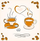 Two cups of steaming coffee Stock Images