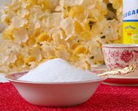 Two Cups Of Sugar in the Bowl stock image