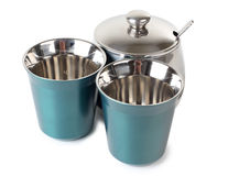 Two cups and sugarbowl Stock Image