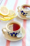 Two cups of tea. With lemon Stock Photography