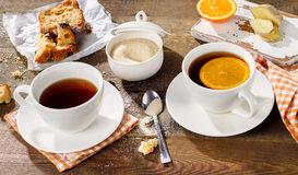 Two Cups of tea with cake Stock Photography