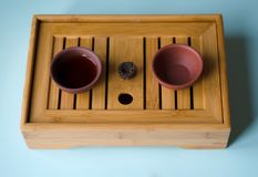 Two cups of tea on the Chinese table stock image
