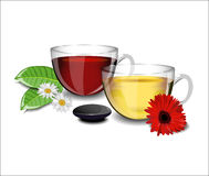 Two cups of tea with different flowers daisies, gerbera Stock Photo