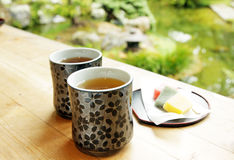 Tea in the garden. Two cups of tea in  the garden Royalty Free Stock Photo