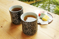 Tea in the garden. Two cups of tea in the garden Stock Photos