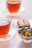 Two cups of tea, iced chocolates Stock Photography