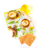 Two cups of tea. With lemon and cinnamon on transparent saucers Stock Images