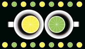 Two cups with tea and lemon and lime. View from above . vector illustration Royalty Free Stock Photography