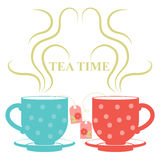 Two cups of tea with steam. Vector illustration of two cups of tea with steam Royalty Free Stock Photos