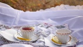 Two cups of tea on the tablecloth. Two cups of red tea with a lemon on the move stock video