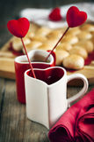 Two cups of tea  for Valentine's day Royalty Free Stock Photography