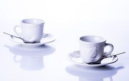 Two cups for tea. On a white background Royalty Free Stock Photos