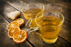 Two cups of tea on wooden boards. Royalty Free Stock Photos