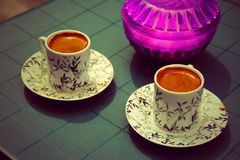 Two cups of turkish cafe royalty free stock image