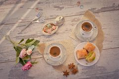 Two cups of Turkish coffee and plate with baklava top view Royalty Free Stock Photography