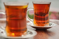 Two cups of turkish tea Stock Image
