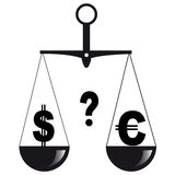 Two currencies on the scales Royalty Free Stock Photo