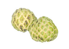 Two custard apples isolated on white Stock Photos
