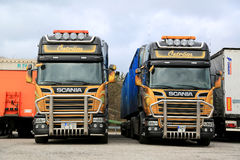 Two Customized Scania Euro 6 Trucks up Front Royalty Free Stock Photo