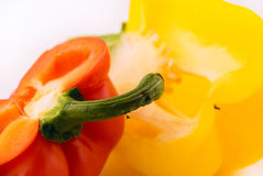 Two cut peppers Stock Image