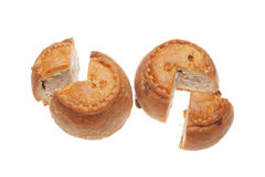Two Cut Pork Pies Royalty Free Stock Photos