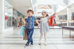 two cute adorable preschool children going shopping royalty free stock image