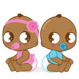 African American babies. Cute African American babies, a baby girl and a boy vector illustration